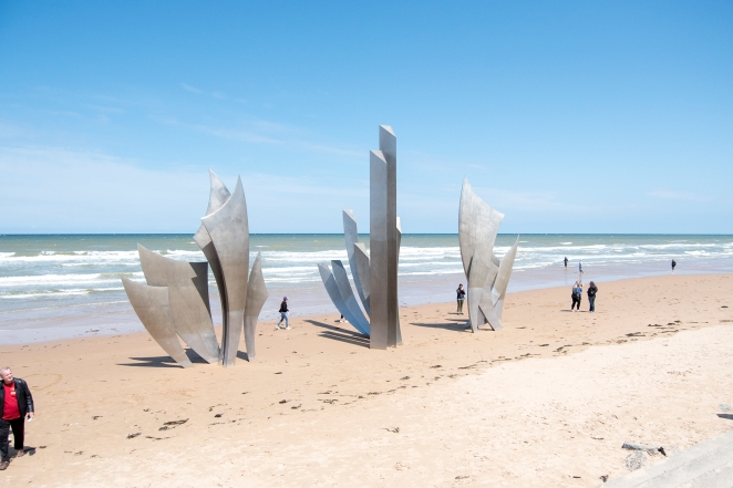 At Omaha beach memorials were created that a million visitors pass every year. We walked the beach also, and looked around in awe- such quiet beauty. It was the scene of one of the most important assaults of WWII and the fight against Hitler. Right here!