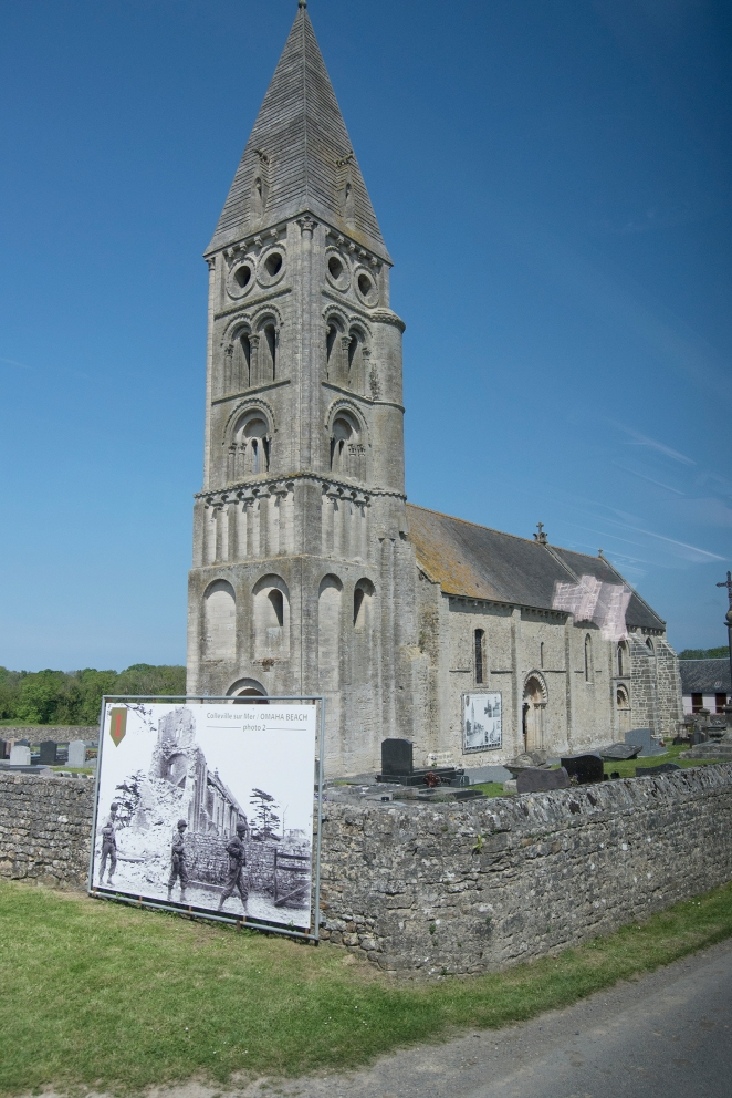 The memorial on this church shows the destruction the town near the landing incurred. It's easy to think of the D- Day Invasion as a short event, but it was only the beginning assault that would last into months.